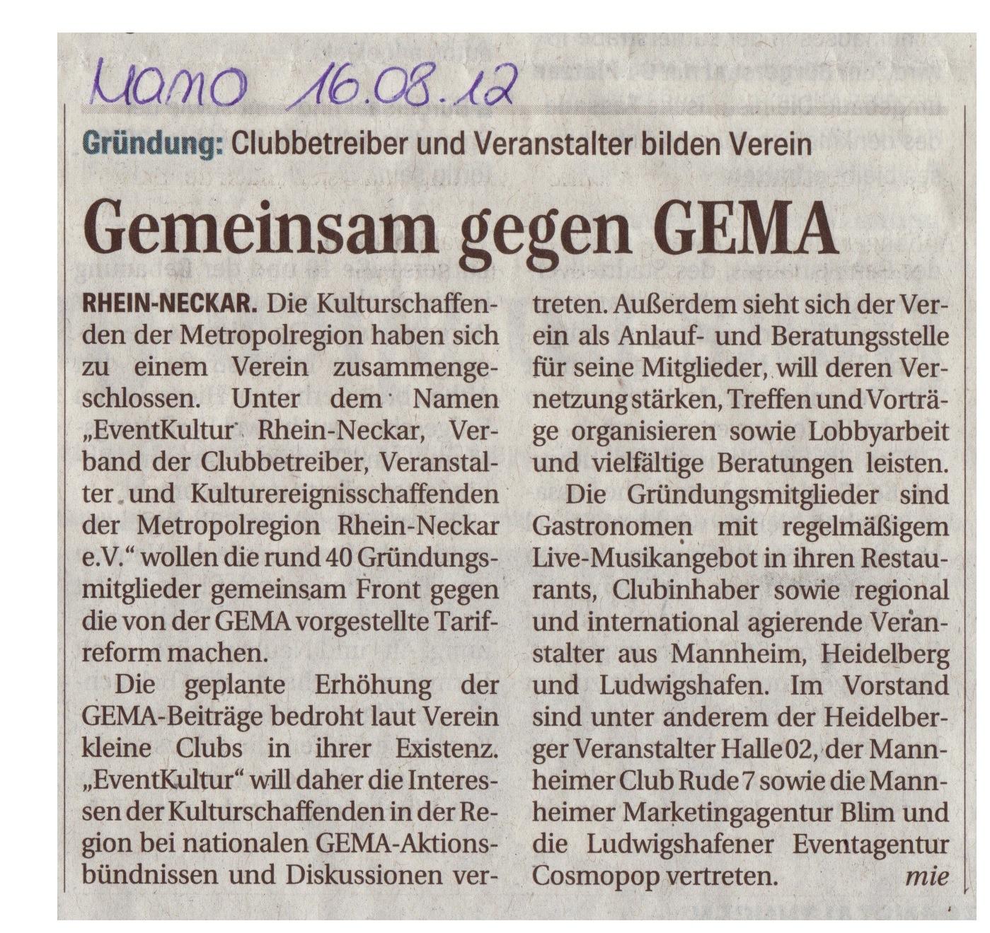 Artikel Mannheimer Morgen 16.08.2012