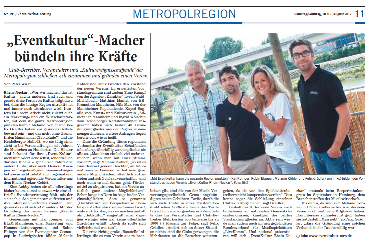 Artikel Rhein Neckar Zeitung 18.08.2012